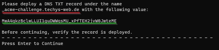 von Certbot ausgegebene Anforderung DNS TXT Eintrag